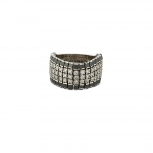 Anillo flexible diamantes blancos y negros