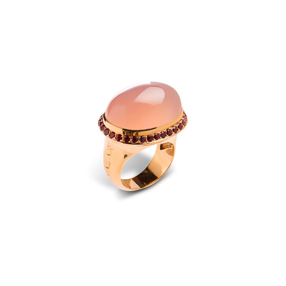 Anillo Talismán oro rosa cuarzo rosa